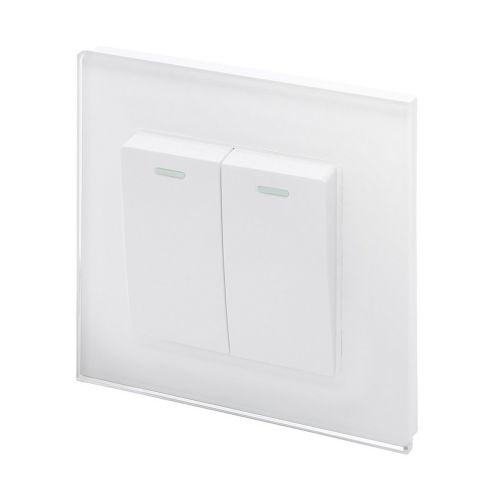 RetroTouch 2 Gang 1 Way 10A Pulse/Retractive Light Switch White Glass PG 00219